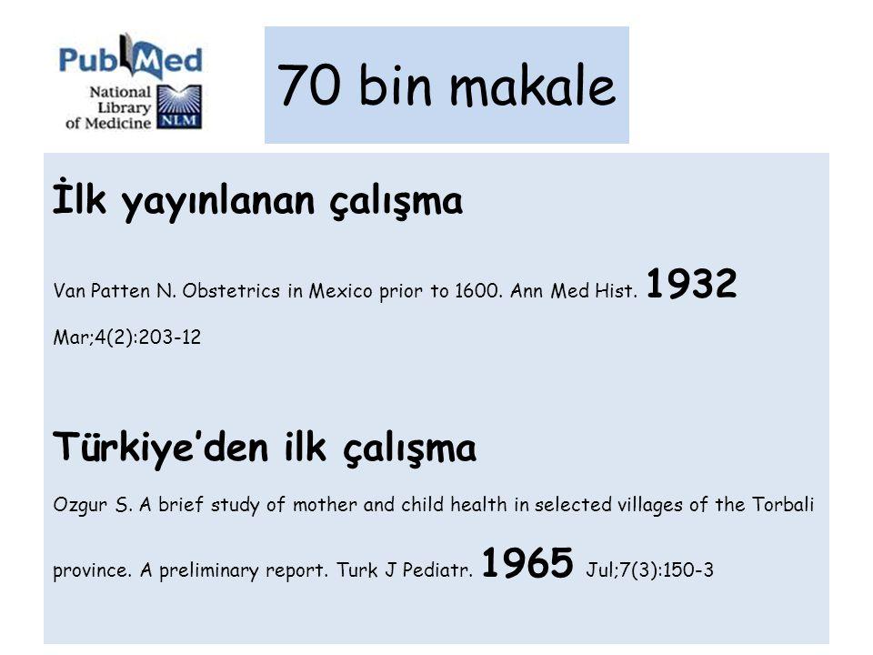 İlk yayınlanan çalışma Van Patten N. Obstetrics in Mexico prior to 1600. Ann Med Hist. 1932 Mar;4(2):203-12 Türkiye'den ilk çalışma Ozgur S. A brief s