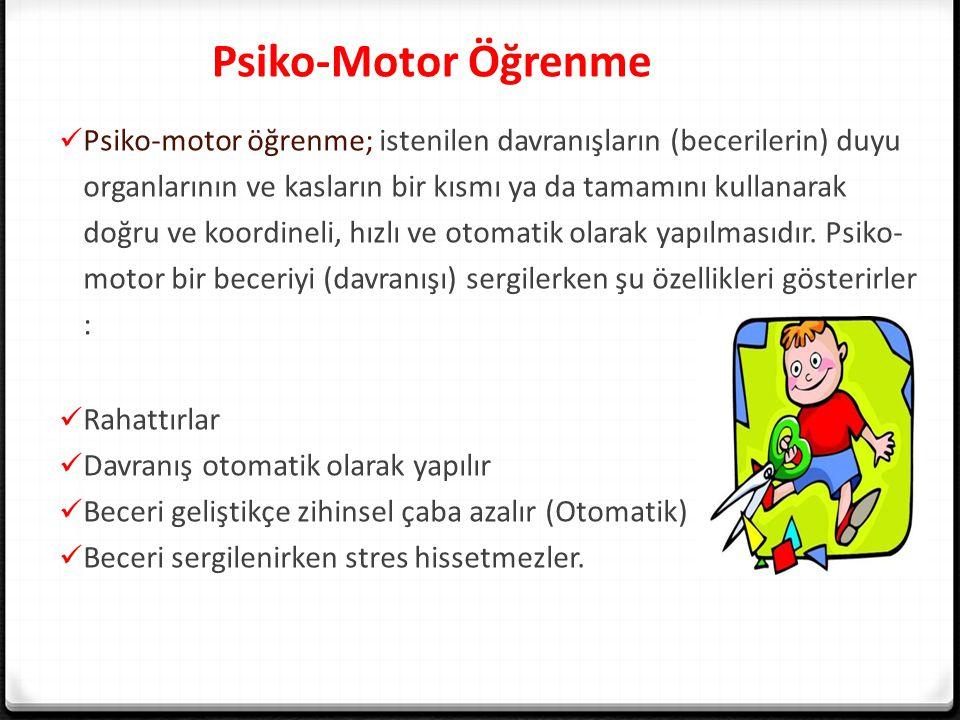 Psiko-Motor Öğrenme Psiko-motor öğrenme; istenilen davranışların (becerilerin) duyu organlarının ve kasların bir kısmı ya da tamamını kullanarak doğru ve koordineli, hızlı ve otomatik olarak yapılmasıdır.