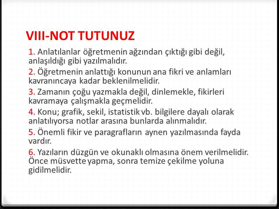 VIII-NOT TUTUNUZ 1.