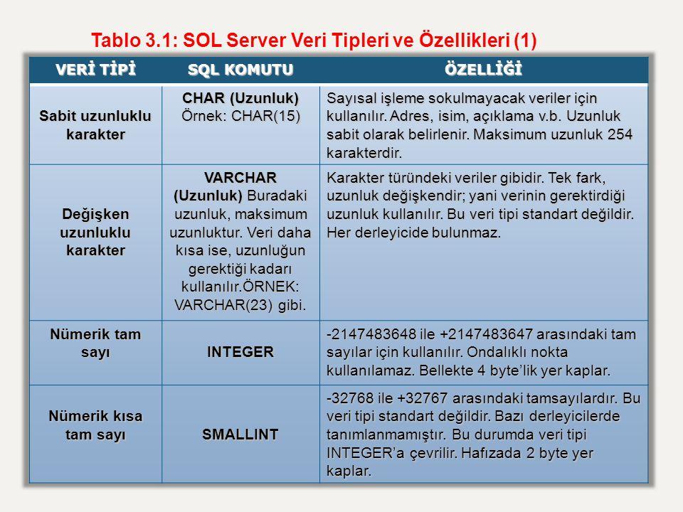 Tablo 3.1: SOL Server Veri Tipleri ve Özellikleri (1)