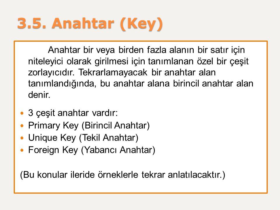 3.5. Anahtar (Key) Anahtar bir veya birden fazla alanın bir satır için niteleyici olarak girilmesi için tanımlanan özel bir çeşit zorlayıcıdır. Tekrar
