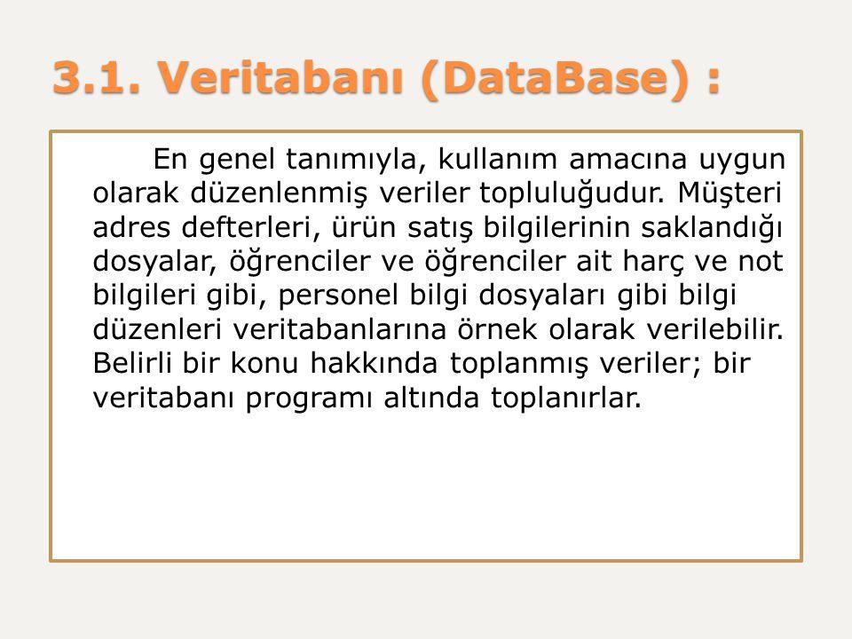 3.1. Veritabanı (DataBase) : En genel tanımıyla, kullanım amacına uygun olarak düzenlenmiş veriler topluluğudur. Müşteri adres defterleri, ürün satış