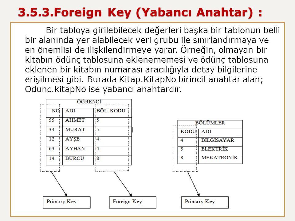 3.5.3.Foreign Key (Yabancı Anahtar) : Bir tabloya girilebilecek değerleri başka bir tablonun belli bir alanında yer alabilecek veri grubu ile sınırlan