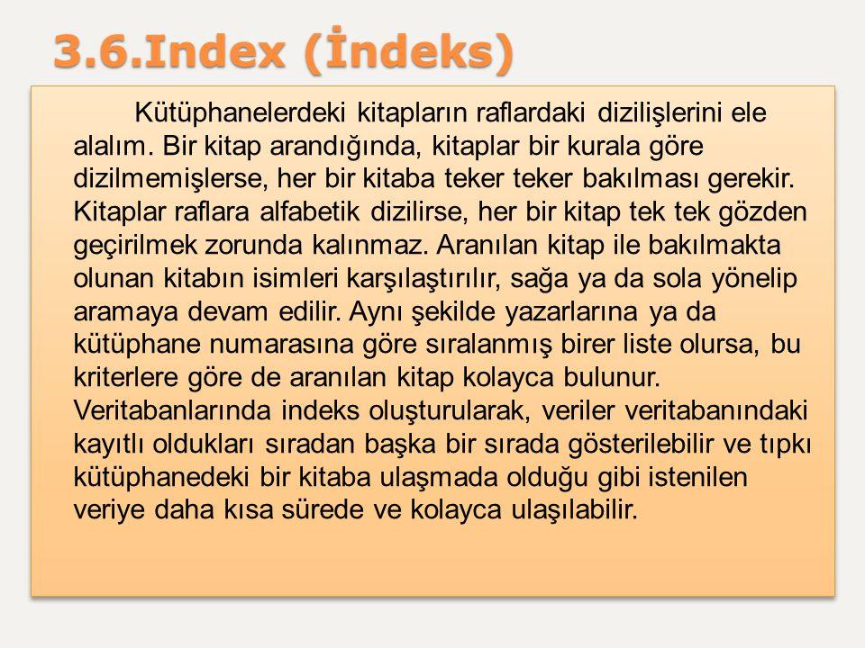 3.6.Index (İndeks) Kütüphanelerdeki kitapların raflardaki dizilişlerini ele alalım. Bir kitap arandığında, kitaplar bir kurala göre dizilmemişlerse, h