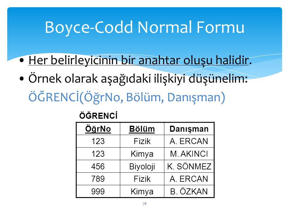 76 Boyce-Codd Normal Formu ÖğrNoBölümDanışman 123FizikA. ERCAN 123KimyaM. AKINCI 456BiyolojiK. SÖNMEZ 789FizikA. ERCAN 999KimyaB. ÖZKAN Her belirleyic