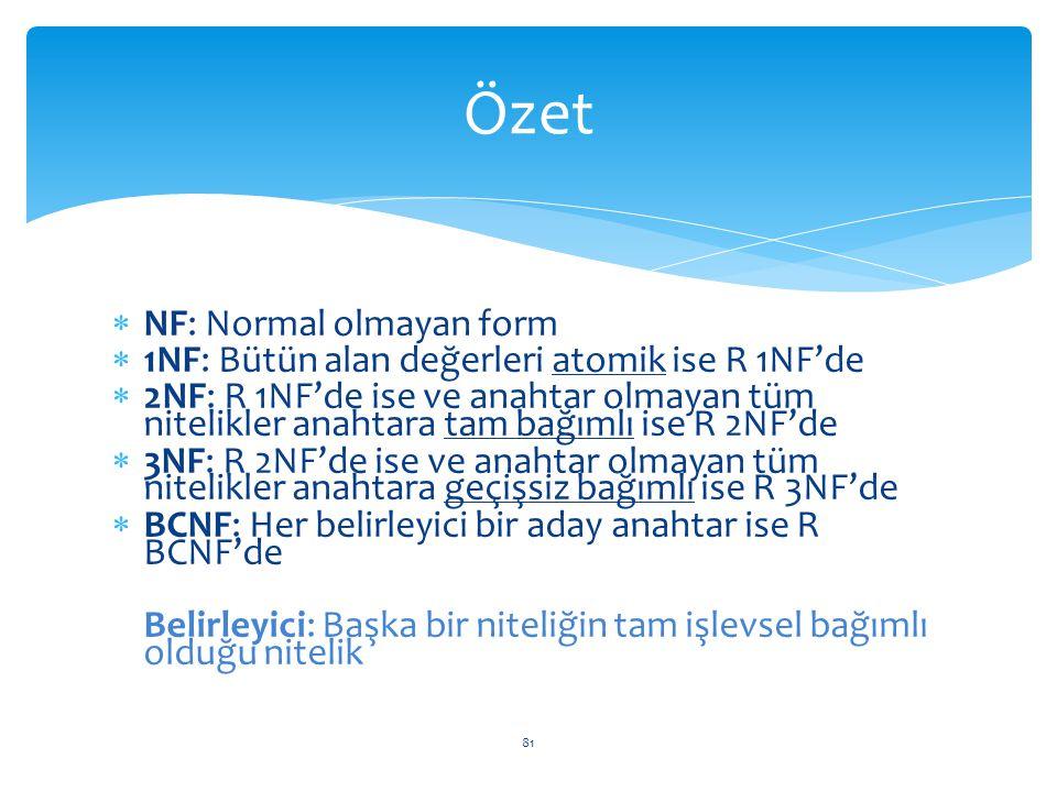 81  NF: Normal olmayan form  1NF: Bütün alan değerleri atomik ise R 1NF'de  2NF: R 1NF'de ise ve anahtar olmayan tüm nitelikler anahtara tam bağıml