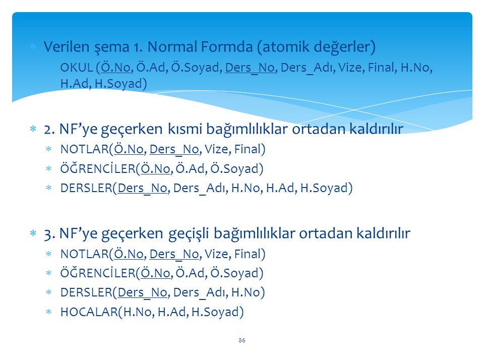 86  Verilen şema 1. Normal Formda (atomik değerler)  OKUL (Ö.No, Ö.Ad, Ö.Soyad, Ders_No, Ders_Adı, Vize, Final, H.No, H.Ad, H.Soyad)  2. NF'ye geçe