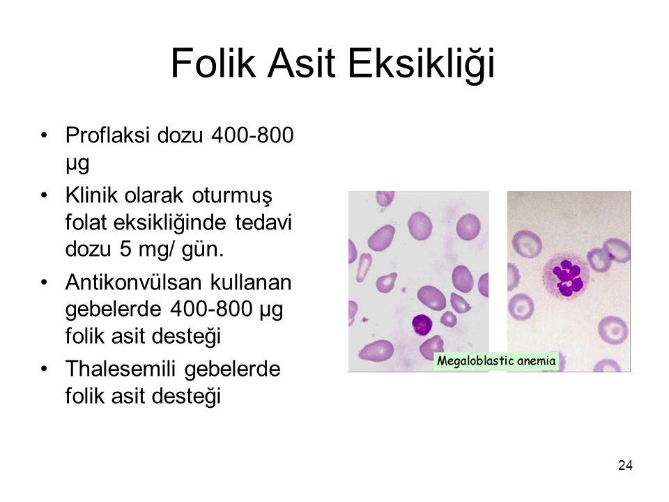 24 Folik Asit Eksikliği Proflaksi dozu 400-800 μg Klinik olarak oturmuş folat eksikliğinde tedavi dozu 5 mg/ gün. Antikonvülsan kullanan gebelerde 400