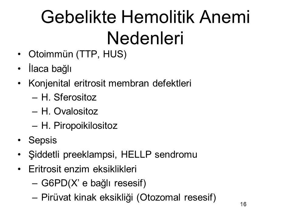 Gebelikte Hemolitik Anemi Nedenleri Otoimmün (TTP, HUS) İlaca bağlı Konjenital eritrosit membran defektleri –H. Sferositoz –H. Ovalositoz –H. Piropoik