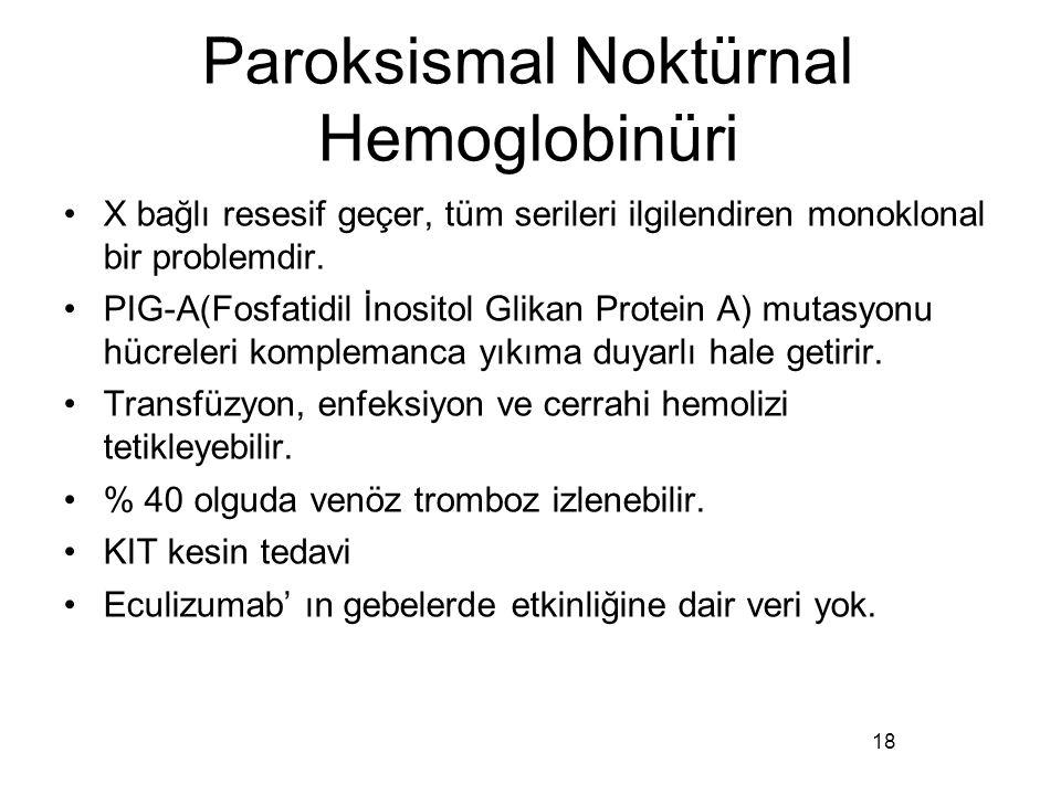 Paroksismal Noktürnal Hemoglobinüri X bağlı resesif geçer, tüm serileri ilgilendiren monoklonal bir problemdir. PIG-A(Fosfatidil İnositol Glikan Prote