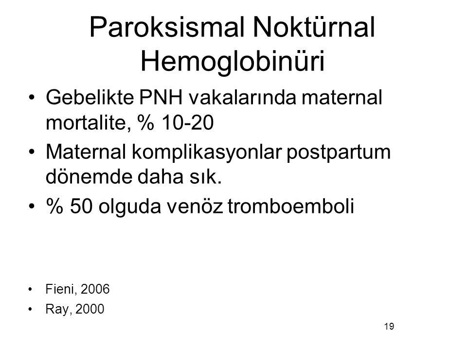 Paroksismal Noktürnal Hemoglobinüri Gebelikte PNH vakalarında maternal mortalite, % 10-20 Maternal komplikasyonlar postpartum dönemde daha sık. % 50 o