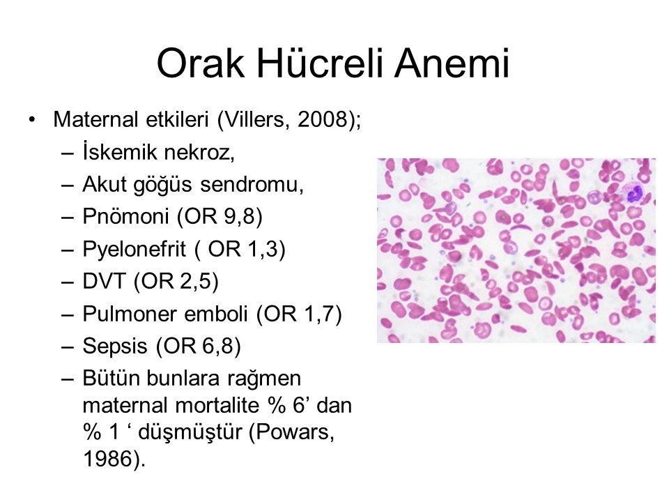 Orak Hücreli Anemi Maternal etkileri (Villers, 2008); –İskemik nekroz, –Akut göğüs sendromu, –Pnömoni (OR 9,8) –Pyelonefrit ( OR 1,3) –DVT (OR 2,5) –P