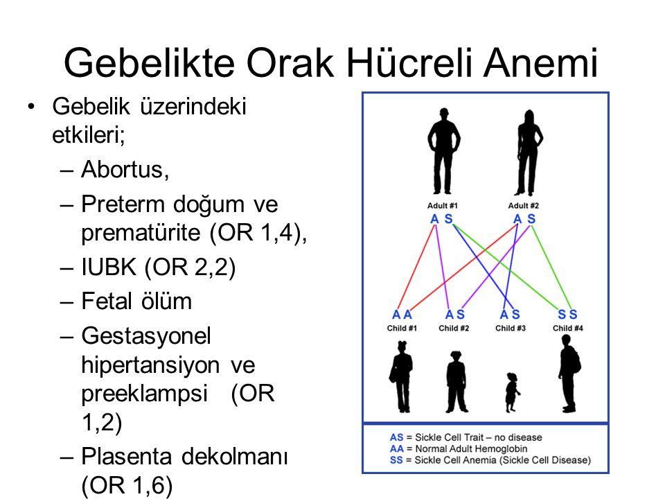 Gebelikte Orak Hücreli Anemi Gebelik üzerindeki etkileri; –Abortus, –Preterm doğum ve prematürite (OR 1,4), –IUBK (OR 2,2) –Fetal ölüm –Gestasyonel hi