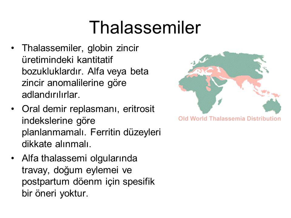 Thalassemiler Thalassemiler, globin zincir üretimindeki kantitatif bozukluklardır. Alfa veya beta zincir anomalilerine göre adlandırılırlar. Oral demi