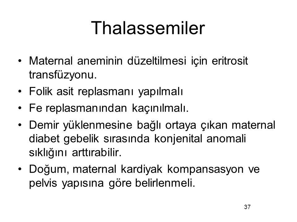 Thalassemiler Maternal aneminin düzeltilmesi için eritrosit transfüzyonu. Folik asit replasmanı yapılmalı Fe replasmanından kaçınılmalı. Demir yüklenm