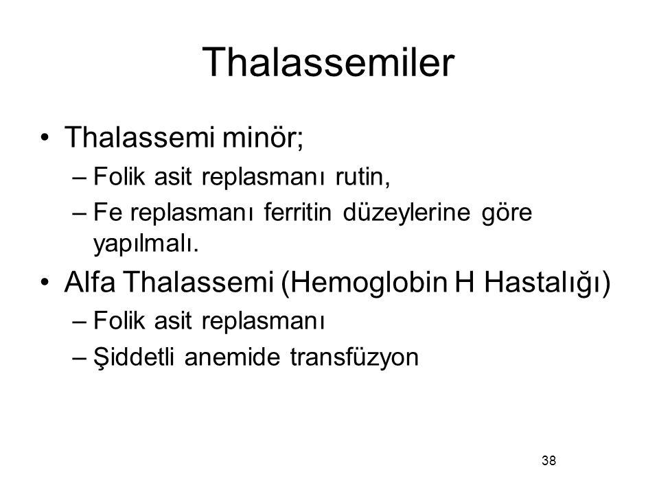 Thalassemiler Thalassemi minör; –Folik asit replasmanı rutin, –Fe replasmanı ferritin düzeylerine göre yapılmalı. Alfa Thalassemi (Hemoglobin H Hastal
