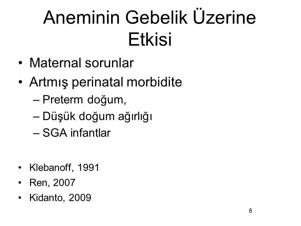Aneminin Gebelik Üzerine Etkisi Maternal sorunlar Artmış perinatal morbidite –Preterm doğum, –Düşük doğum ağırlığı –SGA infantlar Klebanoff, 1991 Ren,