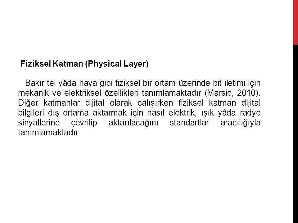 Fiziksel Katman (Physical Layer) Bakır tel yâda hava gibi fiziksel bir ortam üzerinde bit iletimi için mekanik ve elektriksel özellikleri tanımlamaktadır (Marsic, 2010).