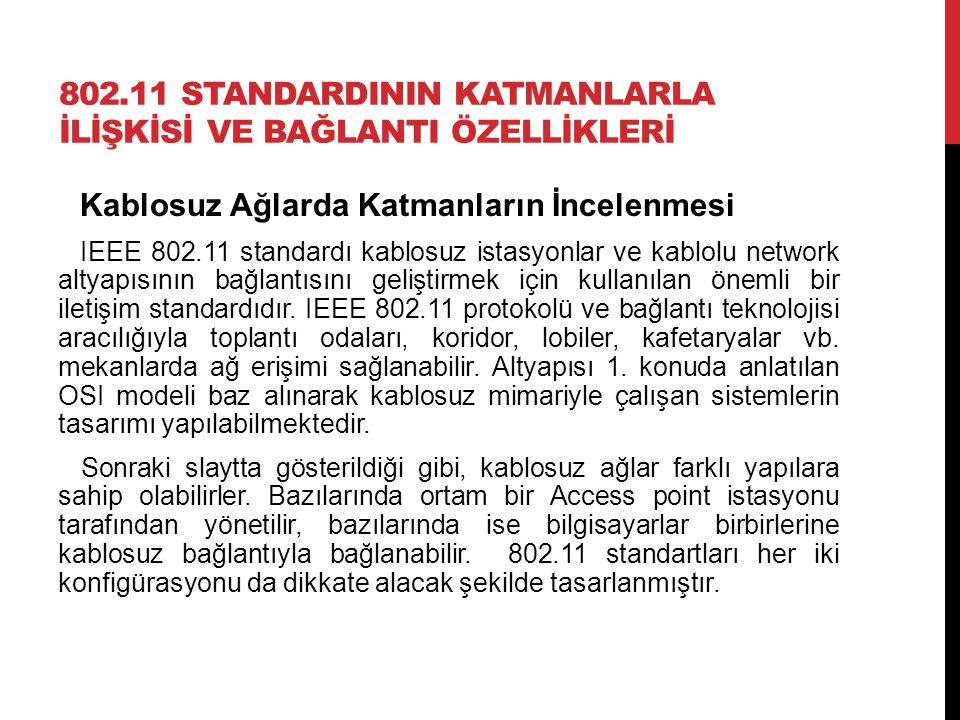 802.11 STANDARDININ KATMANLARLA İLİŞKİSİ VE BAĞLANTI ÖZELLİKLERİ Kablosuz Ağlarda Katmanların İncelenmesi IEEE 802.11 standardı kablosuz istasyonlar v