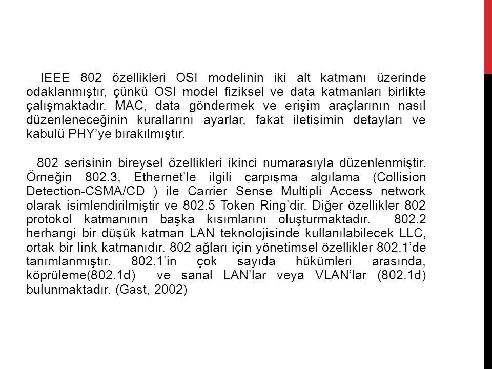 IEEE 802 özellikleri OSI modelinin iki alt katmanı üzerinde odaklanmıştır, çünkü OSI model fiziksel ve data katmanları birlikte çalışmaktadır.