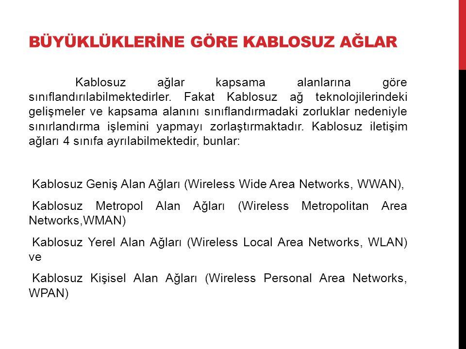 BÜYÜKLÜKLERİNE GÖRE KABLOSUZ AĞLAR Kablosuz ağlar kapsama alanlarına göre sınıflandırılabilmektedirler.