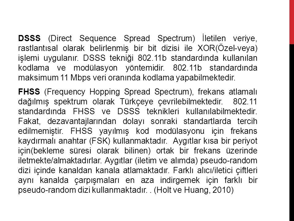 DSSS (Direct Sequence Spread Spectrum) İletilen veriye, rastlantısal olarak belirlenmiş bir bit dizisi ile XOR(Özel-veya) işlemi uygulanır. DSSS tekni
