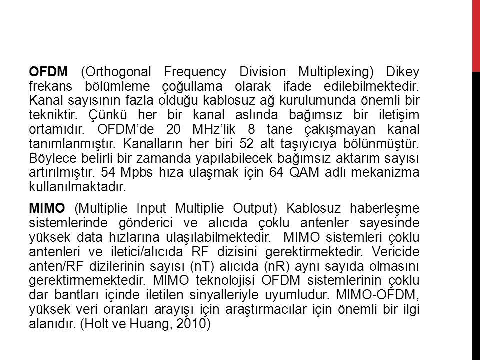OFDM (Orthogonal Frequency Division Multiplexing) Dikey frekans bölümleme çoğullama olarak ifade edilebilmektedir.