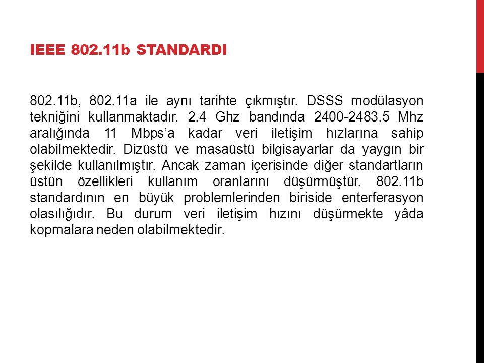 IEEE 802.11b STANDARDI 802.11b, 802.11a ile aynı tarihte çıkmıştır. DSSS modülasyon tekniğini kullanmaktadır. 2.4 Ghz bandında 2400-2483.5 Mhz aralığı