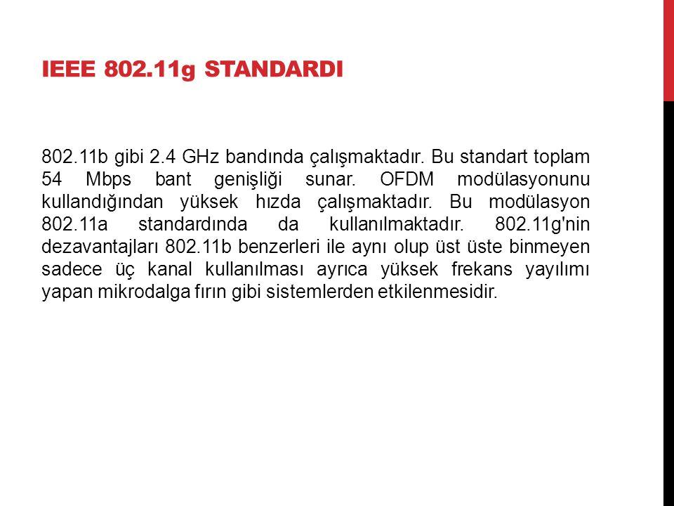 IEEE 802.11g STANDARDI 802.11b gibi 2.4 GHz bandında çalışmaktadır. Bu standart toplam 54 Mbps bant genişliği sunar. OFDM modülasyonunu kullandığından