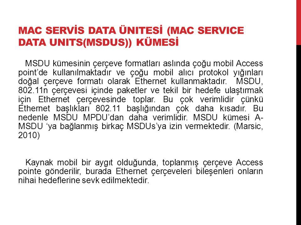 MAC SERVİS DATA ÜNITESİ (MAC SERVICE DATA UNITS(MSDUS)) KÜMESİ MSDU kümesinin çerçeve formatları aslında çoğu mobil Access point'de kullanılmaktadır ve çoğu mobil alıcı protokol yığınları doğal çerçeve formatı olarak Ethernet kullanmaktadır.