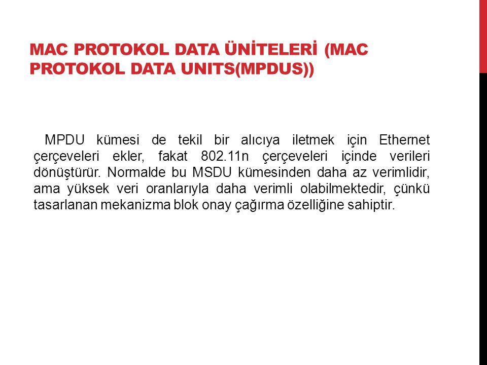 MAC PROTOKOL DATA ÜNİTELERİ (MAC PROTOKOL DATA UNITS(MPDUS)) MPDU kümesi de tekil bir alıcıya iletmek için Ethernet çerçeveleri ekler, fakat 802.11n çerçeveleri içinde verileri dönüştürür.