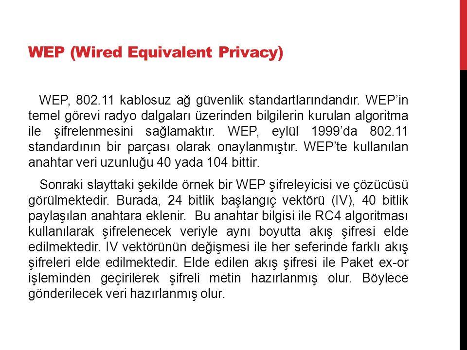 WEP (Wired Equivalent Privacy) WEP, 802.11 kablosuz ağ güvenlik standartlarındandır. WEP'in temel görevi radyo dalgaları üzerinden bilgilerin kurulan