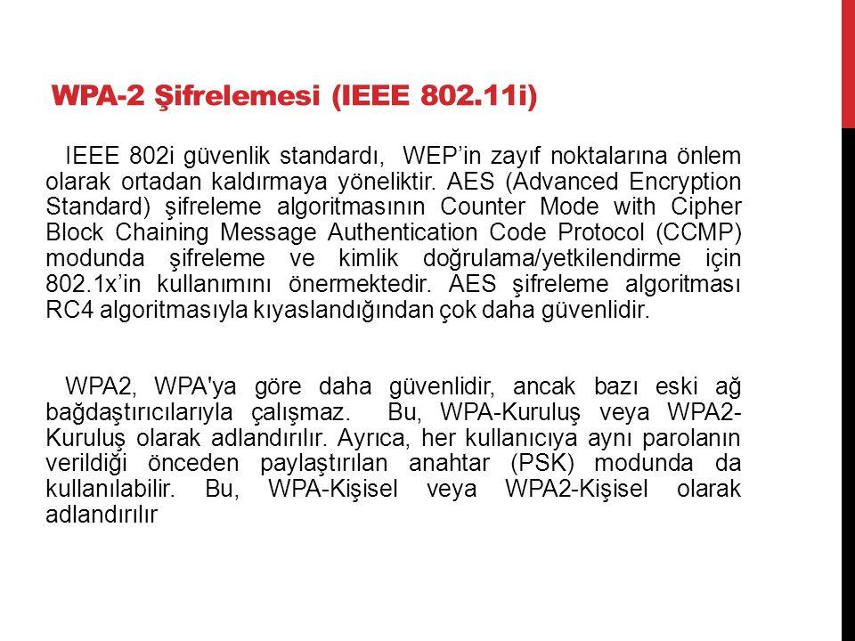 WPA-2 Şifrelemesi (IEEE 802.11i) IEEE 802i güvenlik standardı, WEP'in zayıf noktalarına önlem olarak ortadan kaldırmaya yöneliktir. AES (Advanced Encr