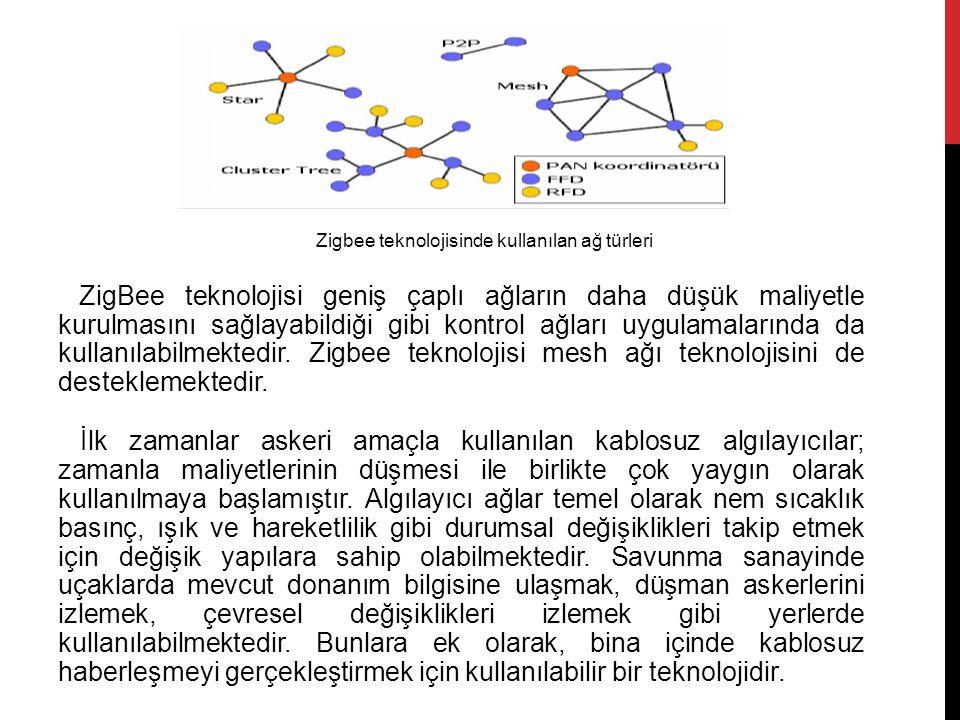 ZigBee teknolojisi geniş çaplı ağların daha düşük maliyetle kurulmasını sağlayabildiği gibi kontrol ağları uygulamalarında da kullanılabilmektedir. Zi