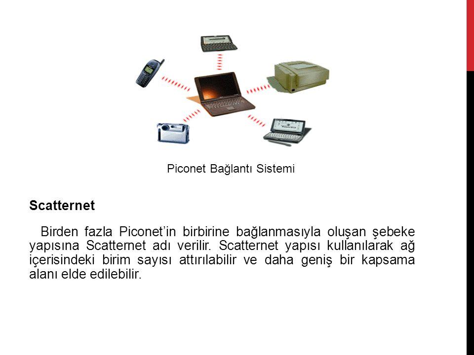 Scatternet Birden fazla Piconet'in birbirine bağlanmasıyla oluşan şebeke yapısına Scatternet adı verilir.