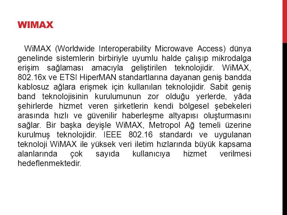 WIMAX WiMAX (Worldwide Interoperability Microwave Access) dünya genelinde sistemlerin birbiriyle uyumlu halde çalışıp mikrodalga erişim sağlaması amacıyla geliştirilen teknolojidir.