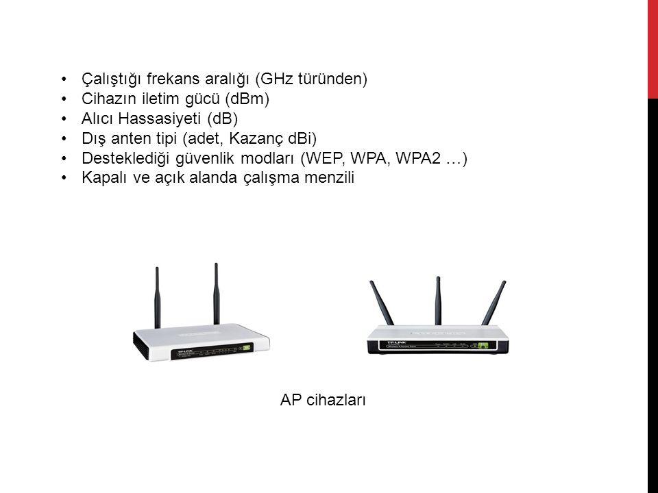Çalıştığı frekans aralığı (GHz türünden) Cihazın iletim gücü (dBm) Alıcı Hassasiyeti (dB) Dış anten tipi (adet, Kazanç dBi) Desteklediği güvenlik modları (WEP, WPA, WPA2 …) Kapalı ve açık alanda çalışma menzili AP cihazları