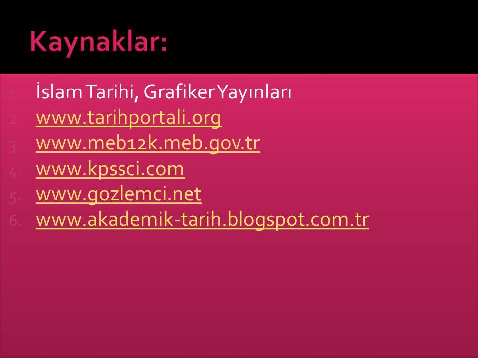 1. İslam Tarihi, Grafiker Yayınları 2. www.tarihportali.org www.tarihportali.org 3. www.meb12k.meb.gov.tr www.meb12k.meb.gov.tr 4. www.kpssci.com www.