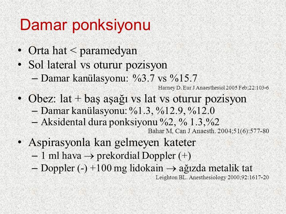 Damar ponksiyonu Orta hat < paramedyan Sol lateral vs oturur pozisyon – Damar kanülasyonu: %3.7 vs %15.7 Harney D. Eur J Anaesthesiol 2005 Feb;22:103-