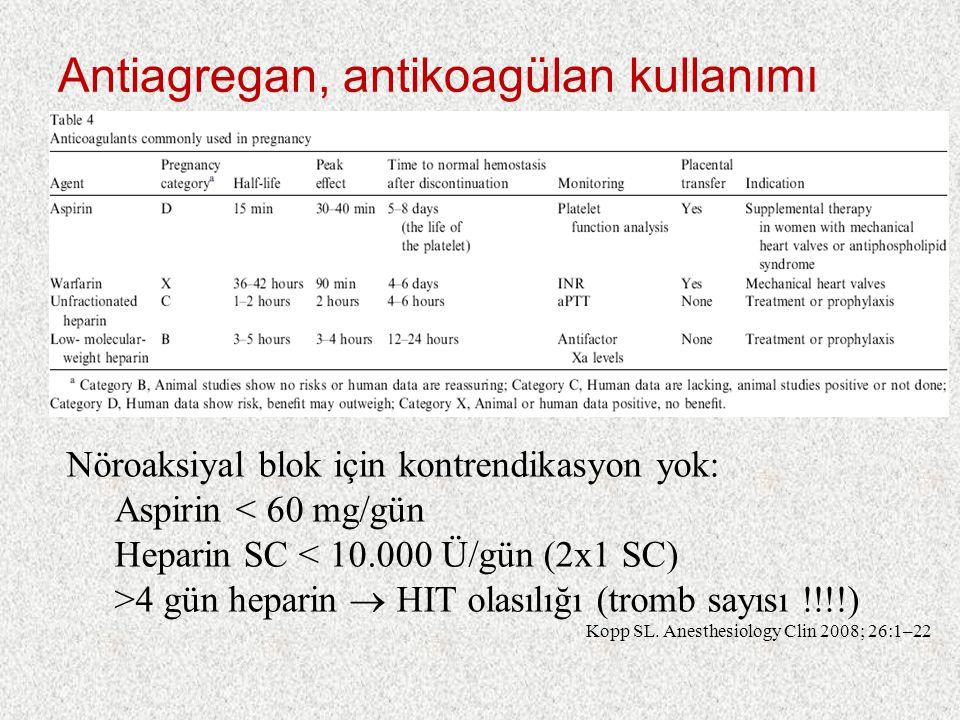 Antiagregan, antikoagülan kullanımı Nöroaksiyal blok için kontrendikasyon yok: Aspirin < 60 mg/gün Heparin SC < 10.000 Ü/gün (2x1 SC) >4 gün heparin  HIT olasılığı (tromb sayısı !!!!) Kopp SL.