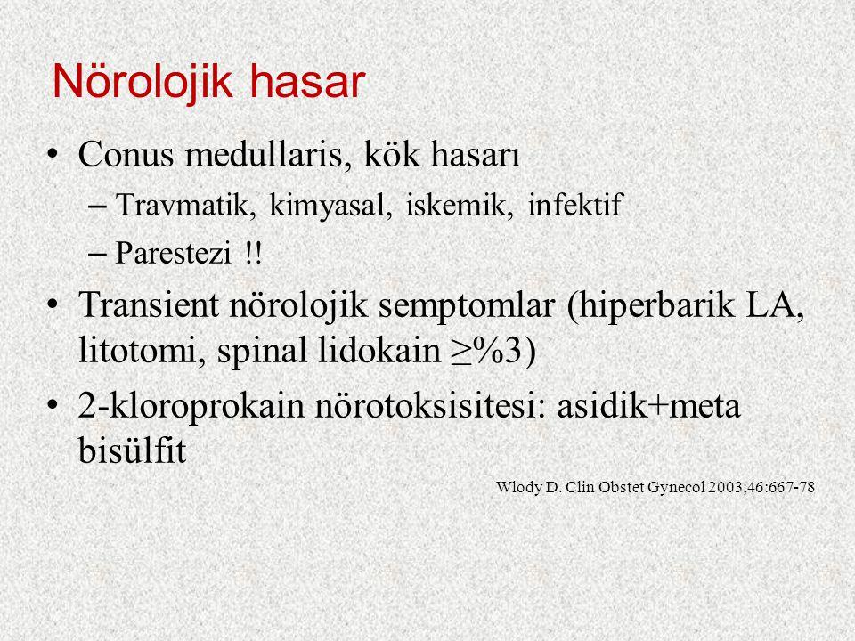 Nörolojik hasar Conus medullaris, kök hasarı – Travmatik, kimyasal, iskemik, infektif – Parestezi !! Transient nörolojik semptomlar (hiperbarik LA, li