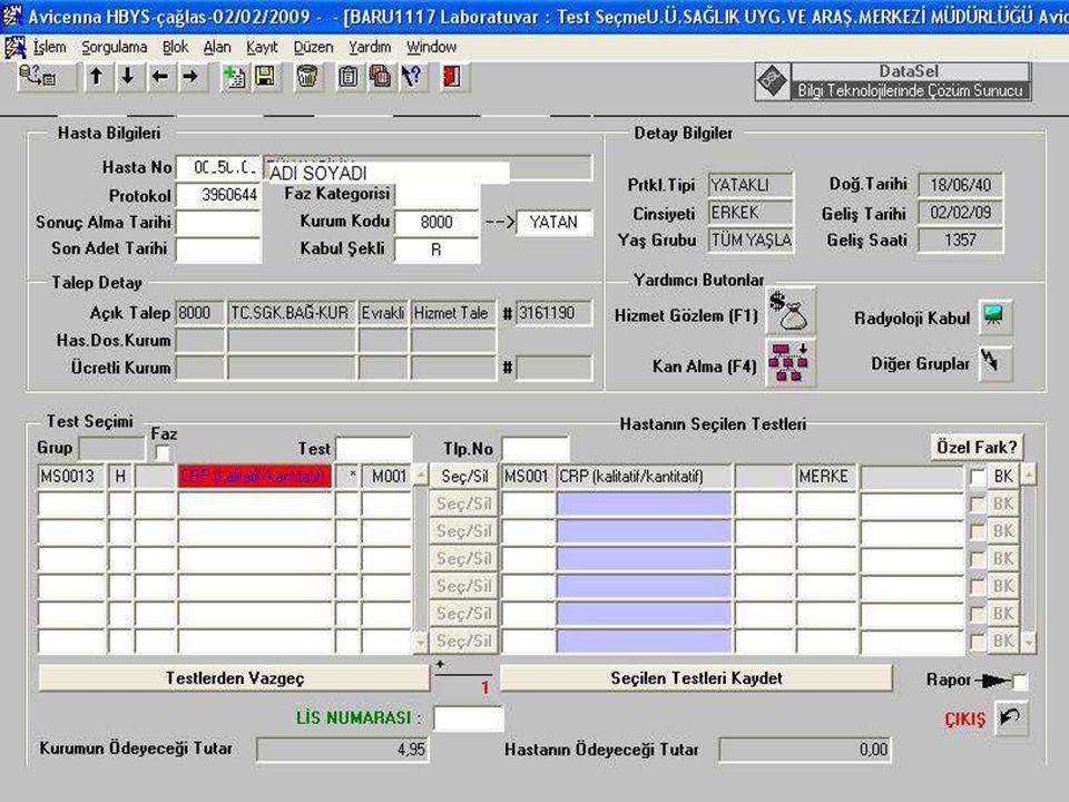 Laboratuar Testlerinde Kullanılan Hizmet Formları Kodları  Konsultasyon ka ğ ıdı (PO – PO 0010)  Radyoloji ka ğ ıdı (PO – RD ve ilgili hizmet kodu)  Laboratuar istek ka ğ ıdı (HB – HB ve ilgili hizmet kodu)  (HI – MI ve ilgili hizmet kodu)  (ME – ME ve ilgili hizmet kodu)  (MS – MS ve ilgili hizmet kodu)  (MT – MT ve ilgili hizmet kodu)  Patoloji istek ka ğ ıdı (PA – PA ve ilgili hizmet kodu)  Genel Hizmet kodu (GM – GM ve ilgili hizmet kodu)  Ameliyat ka ğ ıtları AA, ilaç Hizmetleri EC, Nükleer Tıp Hizm.