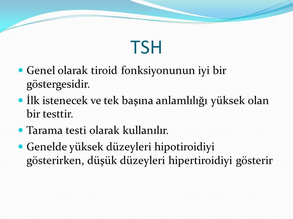 TSH Genel olarak tiroid fonksiyonunun iyi bir göstergesidir. İlk istenecek ve tek başına anlamlılığı yüksek olan bir testtir. Tarama testi olarak kull