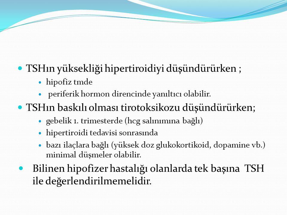 TSHın yüksekliği hipertiroidiyi düşündürürken ; hipofiz tmde periferik hormon direncinde yanıltıcı olabilir. TSHın baskılı olması tirotoksikozu düşünd