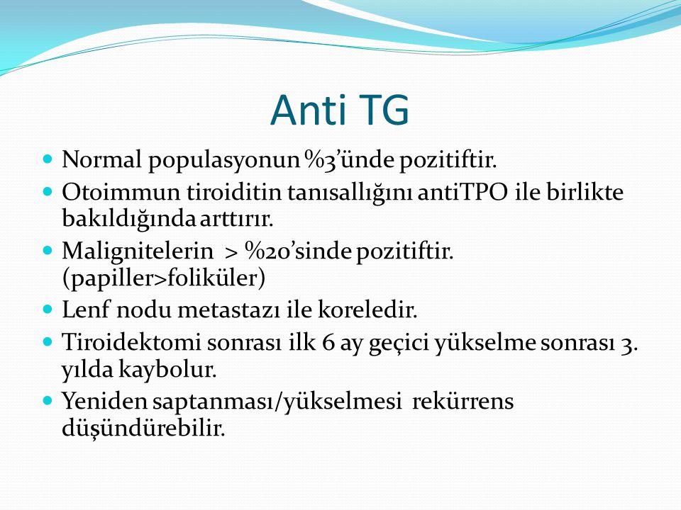 Anti TG Normal populasyonun %3'ünde pozitiftir. Otoimmun tiroiditin tanısallığını antiTPO ile birlikte bakıldığında arttırır. Malignitelerin > %20'sin