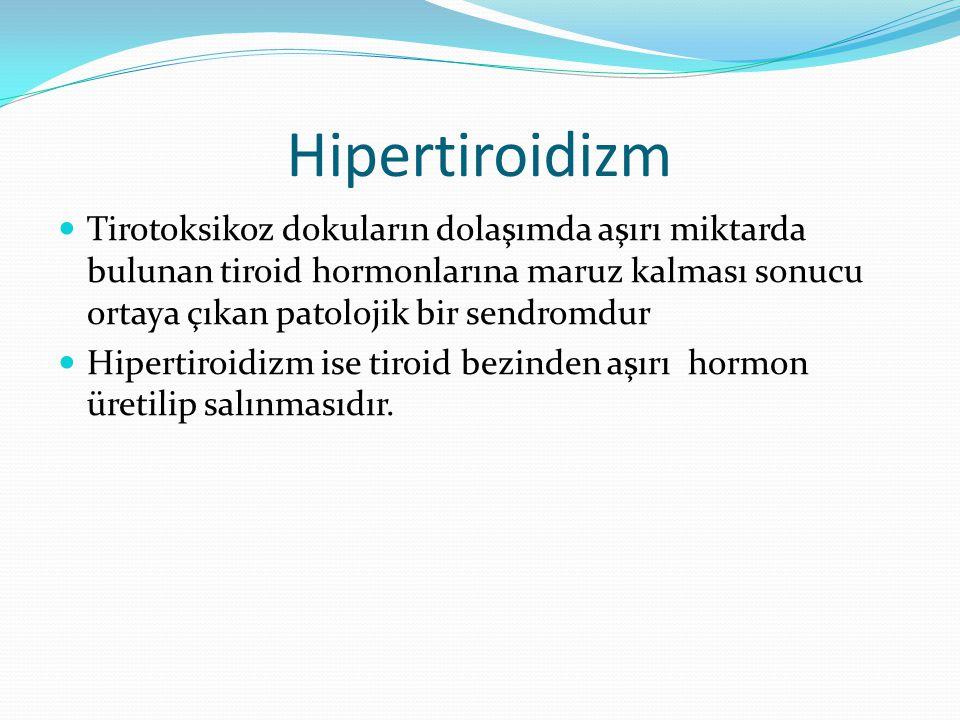 Hipertiroidizm Tirotoksikoz dokuların dolaşımda aşırı miktarda bulunan tiroid hormonlarına maruz kalması sonucu ortaya çıkan patolojik bir sendromdur