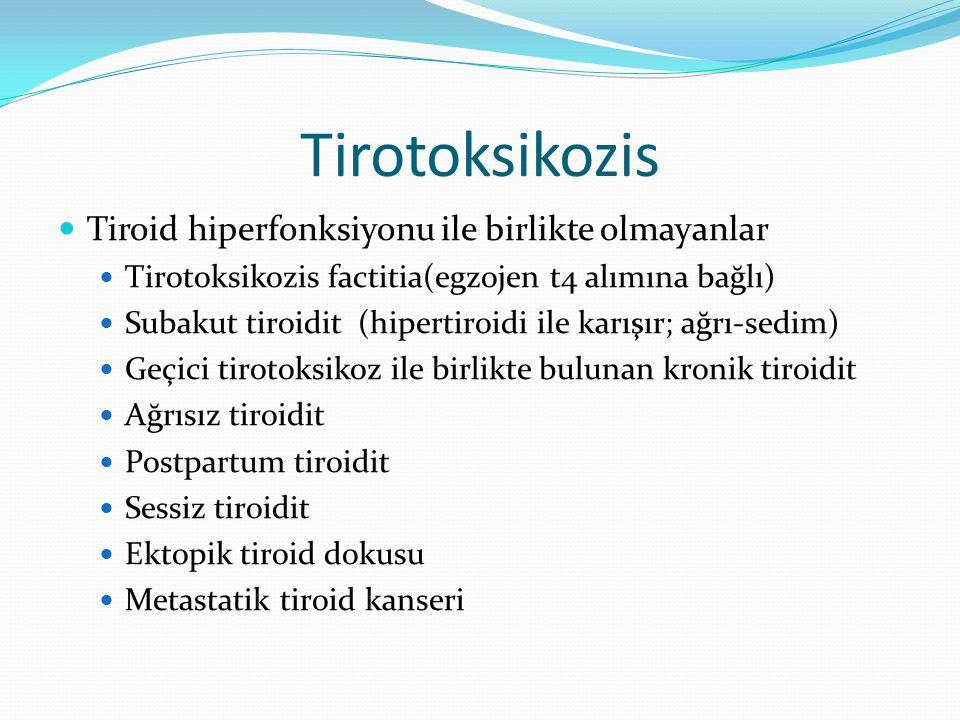 Tirotoksikozis Tiroid hiperfonksiyonu ile birlikte olmayanlar Tirotoksikozis factitia(egzojen t4 alımına bağlı) Subakut tiroidit (hipertiroidi ile kar