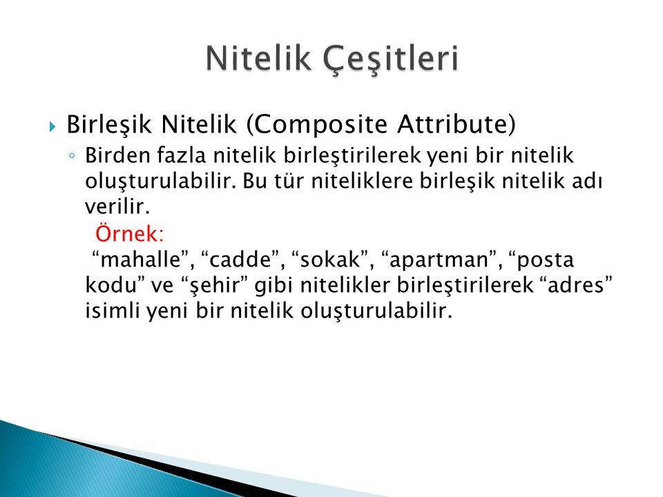  Birleşik Nitelik (Composite Attribute) ◦ Birden fazla nitelik birleştirilerek yeni bir nitelik oluşturulabilir. Bu tür niteliklere birleşik nitelik