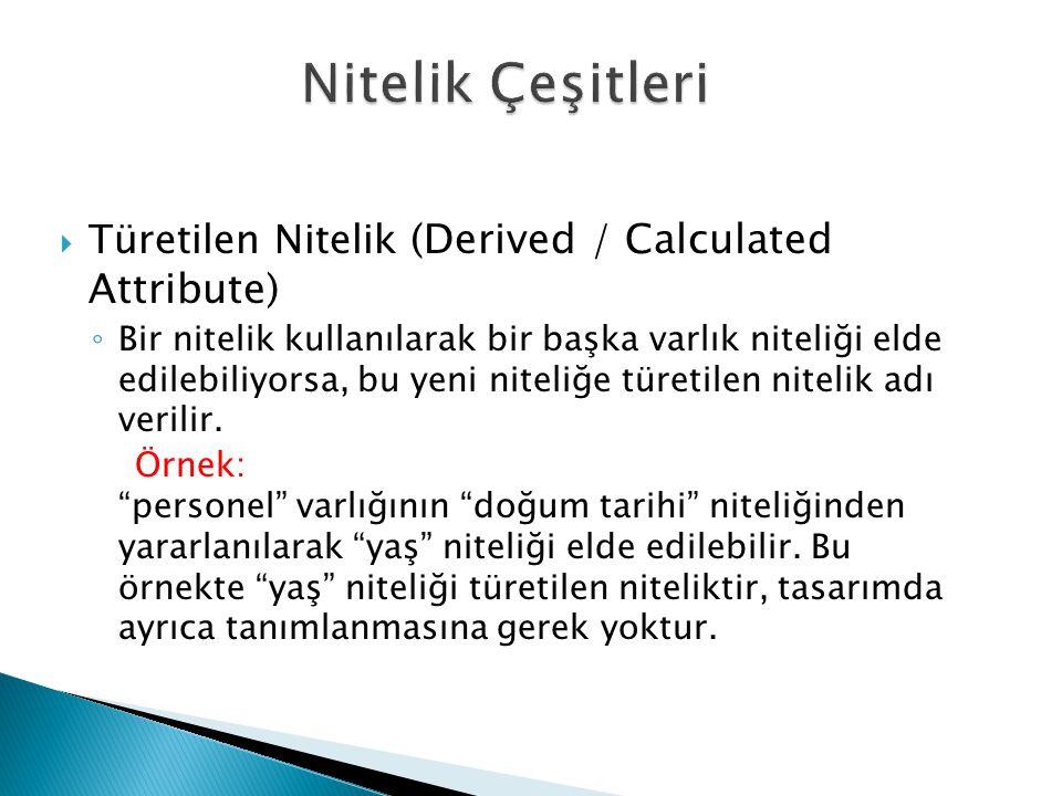  Türetilen Nitelik (Derived / Calculated Attribute) ◦ Bir nitelik kullanılarak bir başka varlık niteliği elde edilebiliyorsa, bu yeni niteliğe türeti