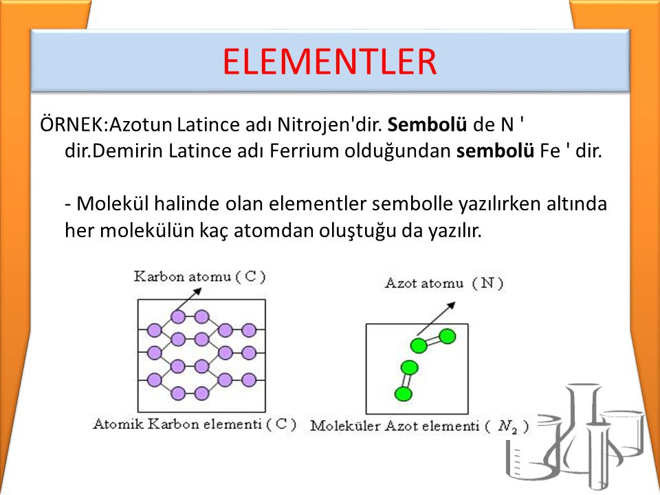 ÖRNEK:Azotun Latince adı Nitrojen'dir. Sembolü de N ' dir.Demirin Latince adı Ferrium olduğundan sembolü Fe ' dir. - Molekül halinde olan elementler s